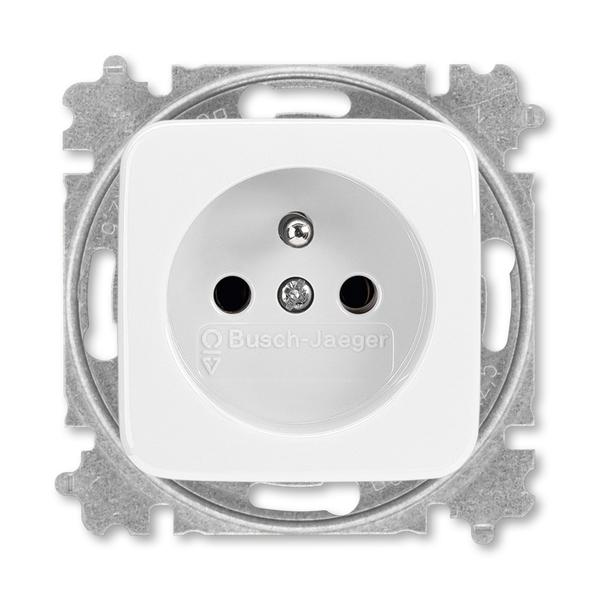 Zásuvka jednonásobná s ochranným kolíkom, Reflex SI, alpská biela
