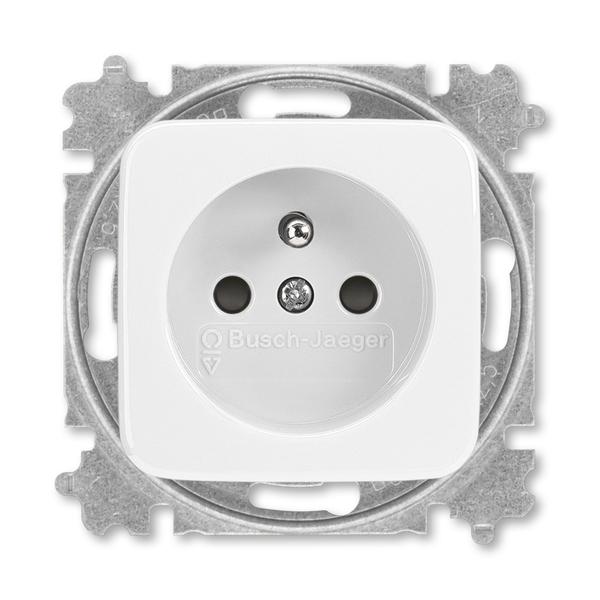 Zásuvka jednonásobná s ochranným kolíkom, s clonkami, Reflex SI, alpská biela