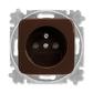 Zásuvka jednonásobná s ochranným kolíkom, s clonkami, Reflex SI, hnedá