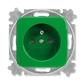 Zásuvka jednonásobná s ochranným kolíkom, s clonkami, Reflex SI, zelená