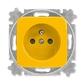 Zásuvka jednonásobná s ochranným kolíkom, s clonkami, Reflex SI, žltá