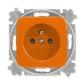 Zásuvka jednonásobná s ochranným kolíkom, s clonkami, Reflex SI, oranžová