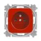 Zásuvka jednonásobná s ochranným kolíkom, s clonkami, Reflex SI, červená