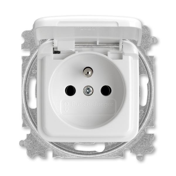 Zásuvka jednonásobná s ochranným kolíkom, s viečkom, Reflex SI, alpská biela