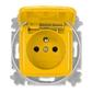 Zásuvka jednonásobná s ochranným kolíkom, s viečkom, Reflex SI, žltá