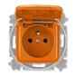 Zásuvka jednonásobná s ochranným kolíkom, s viečkom, Reflex SI, oranžová