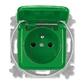Zásuvka jednonásobná s ochranným kolíkom, s viečkom, Reflex SI, zelená