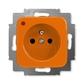 Zásuvka jednonásobná s ochranným kolíkom, s ochranou pred prepätím, Reflex SI, oranžová
