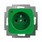Zásuvka jednonásobná s ochranným kolíkom, s ochranou pred prepätím, Reflex SI, zelená
