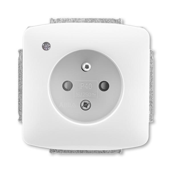 Zásuvka jednonásobná s ochranným kolíkom, so signalizáciou prevádzkového stavu, Tango®, biela
