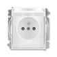 Zásuvka jednonásobná s ochranným kolíkom, s clonkami, s viečkom, Element®, Time®, biela / biela