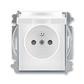 Zásuvka jednonásobná s ochranným kolíkom, s clonkami, s viečkom, Element®, biela / ľadová šedá
