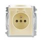 Zásuvka jednonásobná s ochranným kolíkom, s clonkami, s viečkom, Element®, slonová kosť / ľadová biela