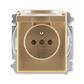 Zásuvka jednonásobná s ochranným kolíkom, s clonkami, s viečkom, Element®, kávová / ľadová opálová