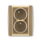 Zásuvka dvojnásobná s ochrannými kolíkmi, s clonkami, s natočenou dutinou, s ochranou pred prepätím, Element®, kávová / ľadová opálová