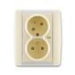 Zásuvka dvojnásobná s ochrannými kolíkmi, s clonkami, s natočenou dutinou, s ochranou pred prepätím, Element®, slonová kosť / ľadová biela