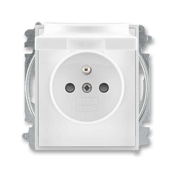 Zásuvka jednonásobná s ochranným kolíkom, s clonkami, s viečkom, Time®, Element®, biela / ľadová biela