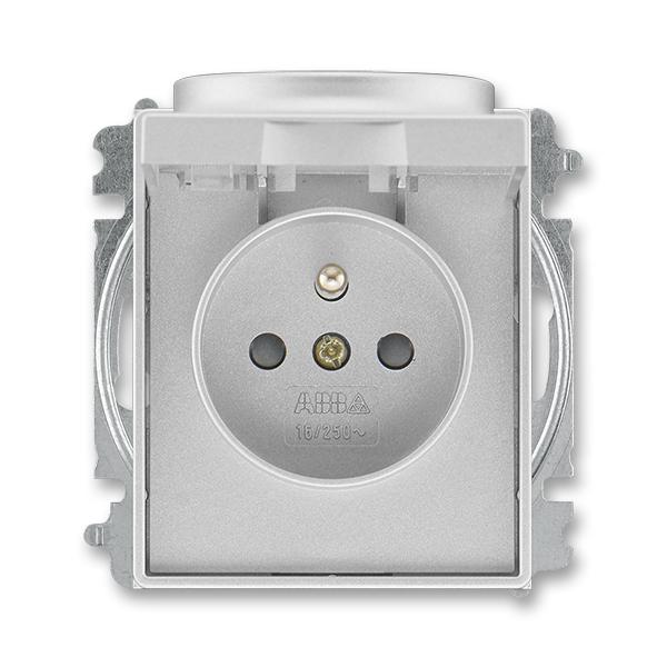 Zásuvka jednonásobná s ochranným kolíkom, s clonkami, s viečkom, Time®, Time® Arbo, titánová