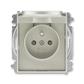 Zásuvka jednonásobná s ochranným kolíkom, s clonkami, s viečkom, Time®, Time® Arbo, starostrieborná