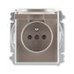 Zásuvka jednonásobná s ochranným kolíkom, s clonkami, s viečkom, Time®, lungo / mliečna biela
