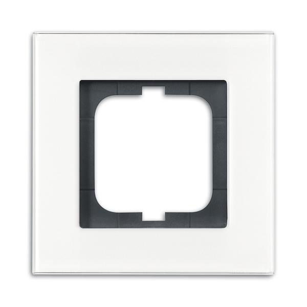 Rámček pre elektroinstalačné prístroje, jedno násobný, Solo® carat, biele sklo