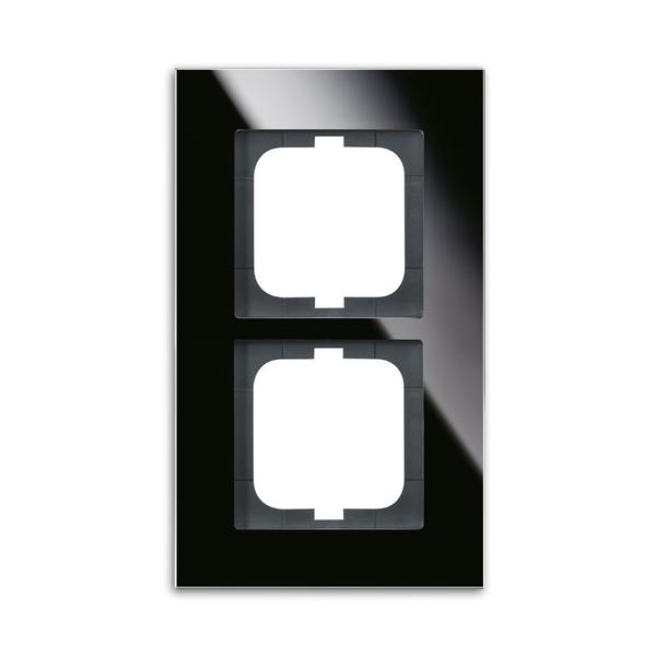 Rámček pre elektroinštalačné prístroje, dvoj násobný, Solo® carat, čierne sklo