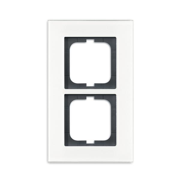 Rámček pre elektroinštalačné prístroje, dvoj násobný, Solo® carat, biele sklo