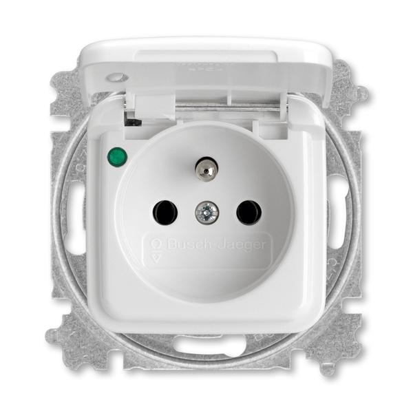 Zásuvka jednonásobná s ochranným kolíkom, s viečkom, so signalizáciou prevádzkového stavu, Reflex SI, alpská biela