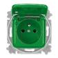 Zásuvka jednonásobná s ochranným kolíkom, s viečkom, so signalizáciou prevádzkového stavu, Reflex SI, zelená