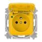 Zásuvka jednonásobná s ochranným kolíkom, s viečkom, so signalizáciou prevádzkového stavu, Reflex SI, žltá
