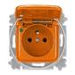 Zásuvka jednonásobná s ochranným kolíkom, s viečkom, so signalizáciou prevádzkového stavu, Reflex SI, oranžová