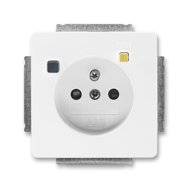 Zásuvka bezpečnostná FI-DOS s vstavaným prúdovým chráničom, s clonkami, Swing®, Swing®L, biela