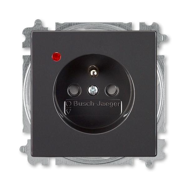 Zásuvka jednonásobná s ochranným kolíkom, s clonkami, s ochranou pred prepätím, Future® linear, Solo®, Solo® carat, antracitová