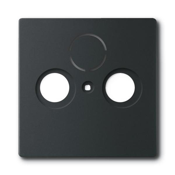 Kryt zásuvky anténnej univerzálnej s 2 (3) otvormi, Future® linear, zamatová čierna