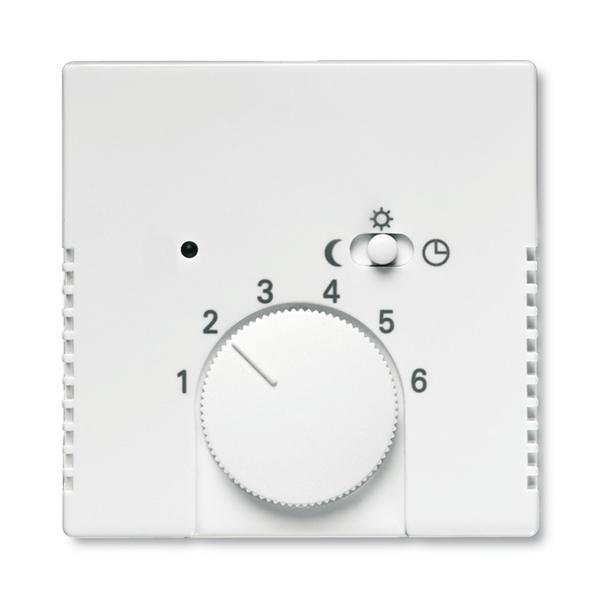 Kryt termostatu, s otočným ovládačom a posuvným prepínačom, Future® linear, zamatová biela