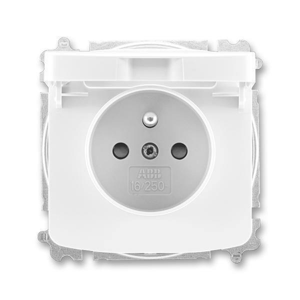 Zásuvka jednonásobná s ochranným kolíkom, s clonkami, s viečkom, Tango®, biela