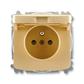 Zásuvka jednonásobná s ochranným kolíkom, s clonkami, s viečkom, Tango®, béžová