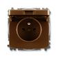 Zásuvka jednonásobná s ochranným kolíkom, s clonkami, s viečkom, Tango®, hnedá