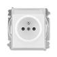 Zásuvka jednonásobná s ochranným kolíkom, s clonkami, s popisovým poľom, Time®, Element®, biela / ľadová biela