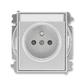 Zásuvka jednonásobná s ochranným kolíkom, s clonkami, s popisovým poľom, Time®, Time® Arbo, titánová