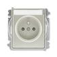 Zásuvka jednonásobná s ochranným kolíkom, s clonkami, s popisovým poľom, Time®, Time® Arbo, starostrieborná