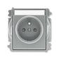 Zásuvka jednonásobná s ochranným kolíkom, s clonkami, s popisovým poľom, Time®, oceľová
