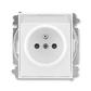 Zásuvka jednonásobná s ochranným kolíkom, s clonkami, s popisovým poľom, Element®, Time®, biela / biela