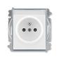 Zásuvka jednonásobná s ochranným kolíkom, s clonkami, s popisovým poľom, Element®, biela / ľadová šedá