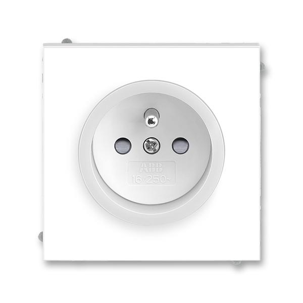 Zásuvka jednonásobná s ochranným kolíkom, s clonkami, Neo®, biela / ľadová biela