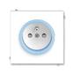 Zásuvka jednonásobná s ochranným kolíkom, s clonkami, Neo®, biela / ľadová modrá