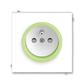 Zásuvka jednonásobná s ochranným kolíkom, s clonkami, Neo®, biela / ľadová zelená
