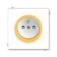 Zásuvka jednonásobná s ochranným kolíkom, s clonkami, Neo®, biela / ľadová oranžová