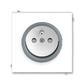 Zásuvka jednonásobná s ochranným kolíkom, s clonkami, Neo®, biela / ľadová šedá