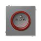 Zásuvka jednonásobná s ochranným kolíkom, s clonkami, Neo® Tech, oceľová / teracotta